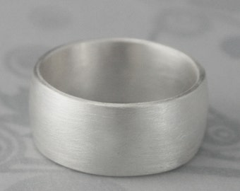 Wilde Silver Ring--Plain Jane 10mm Ultra Wide Solid Sterling Silver Wedding Band--Low Dome Rounded Traditional Ring
