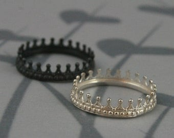 Sterling Silver Crown Band--Check Mate--Crown Ring--Queen or King Wedding Band--Silver Crown Ring--Custom Made in YOUR Size