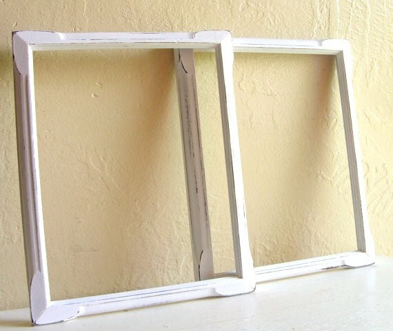 Pair of Matching 8x10 Shabby Chic White Picture Frames Vintage UPcycled
