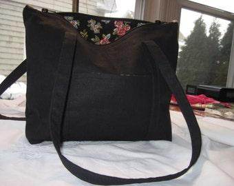 Black Linen Pocketbook/ evening bag