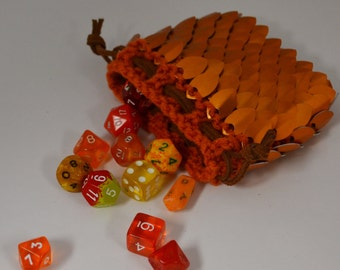 Scale Maille Dice Bag in knitted Dragonhide Armor Orange