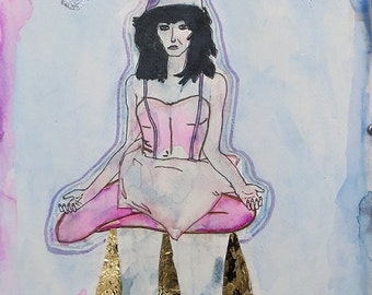 Kate Bush - Sat in Your Lap - Art Print of Glittery Painting Inspired from the Music Video