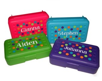 BACK TO SCHOOL - Personalized Pencil Box / Art Supply - Dots