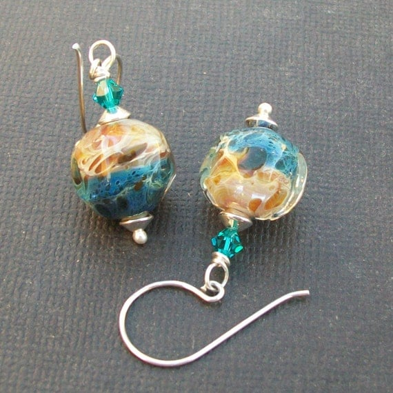 artisan earrings boro glass aqua amber caramel spotted beads-  sand and sea