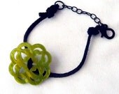 RICHARME Thai Button Bracelet in Lime Green and Black Suede