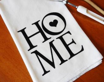 Flour Sack Dish Towel, Screen Printed Home Text, Tea Towel
