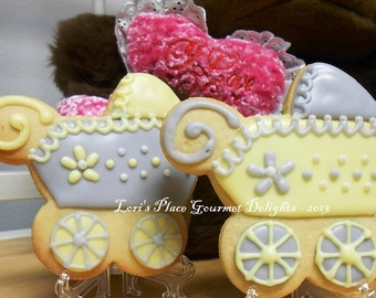 Baby Carriage Cookies - Grey and Yellow Baby Carriage Cookies - 12 cookies