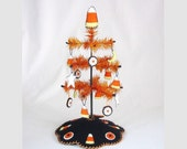 Tiny Halloween Candy Corn Design Feather Tree with Ornaments, Tree Skirt and Topper