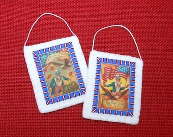 Patriotic July 4th Vintage Postcard Image Ornaments - Set of 2
