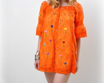Vintage 1970s Ethnic Mexican Oaxcan Lace Embroidered Tangerine Cotton Dress Tunic Top
