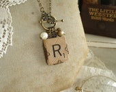 SCRABBLE Letter Necklace. Letter R Necklace. Rustic Charm Necklace. Vintage Wood Tile in Antiqued Brass Filigree. Upcycled Initial Necklace.