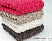 Dishcloths Washcloths Crochet Kitchen Set of 4 Red, Cream, Taupe, Chocolate Brown