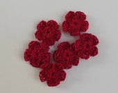 Tiny Red Crocheted Flowers - Cardinal Red Five Petal - Cotton - Crocheted Appliques - Crocheted Embellishments