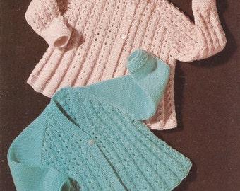 Vintage Babys Matinee Coat Jacket Cardigan x 2 Knitting Pattern PDF (X10)