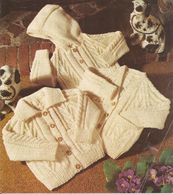 Knitting Patterns Childrens Aran Cardigans : PDF Vintage Knitting Pattern Baby/Childrens Aran Cardigan