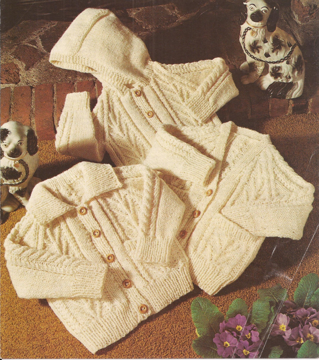 Aran Childrens Knitting Patterns : PDF Vintage Knitting Pattern Baby/Childrens Aran Cardigan