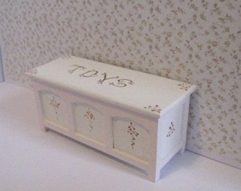 Miniature Toy chest , nursery toy chest, toys, dollhouse toys,   Pink and White, twelfth scale dollhouse miniature