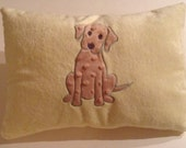 Whimsical pillow, Puppy  applique embroidered pillow, minky pillow , yellow pillow