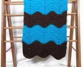 Crochet baby blanket, baby boy blanket, crochet baby afghan, blue brown blanket, baby chevron blanket,baby ripple blanket,blue brown bedding