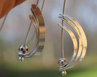 Orbit earrings, argentium silver jewelry with amethyst crystal bead