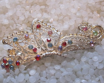 vintage  barrette silver tone butterfly  with  colorful rhinestones, vintage 1980