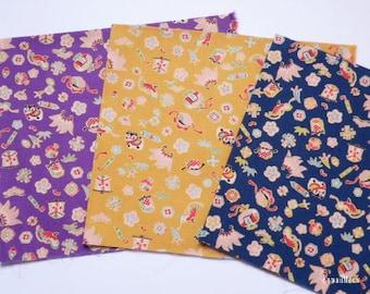 Japanese Fabric - Kawaii Kimono 3 Fat Quarter Bundle Set - F152