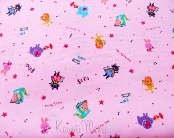 SALE - Cute Cats Animals Melody on Pink - Half Yard (u0104)