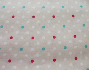 SALE - Cute Polka Dots on Natural - Half Yard (ko0805)