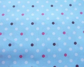 "SALE / Scrap - Cute Polka Dots on Sky Blue -112cm/44""W x 43cm/16""L  (ko0805)"
