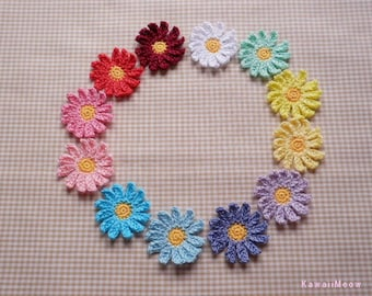 Kawaii Crochet Applique Motif Flowers Marguerite Set of 12