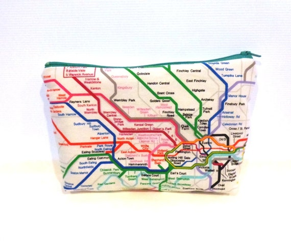Medium  Zipper Pouch Pencil Case Travel Bag  London Underground Reserved for Carol