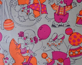 Vintage 1970s Gift Wrap Kids Birthday Corny Clowns- 2 Sheets Vintage Wrapping Paper