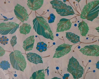 Vintage Gift Wrap 1970s All Occasion Wrapping Paper-2 Sheets NIP-Leafy Greens Turquoise & Gold