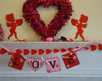 Valentine Banner-Valentines Day Sign-Valentines Garland-Valentine Photo Prop-Valentines Day-Love Banner-Valentine Love Sign-Hearts Banner