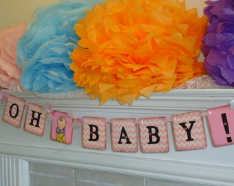 Baby Shower Banner-Oh Baby Banner-Pink Baby Shower-Pink Chevron Banner-New Baby Gift-Baby Shower Ideas-Baby Gender Prop-Chevron Baby Shower