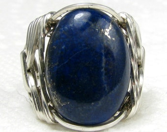 Lapis Lazuli Gemstone Cabochon Ring Sterling Silver Jewelry