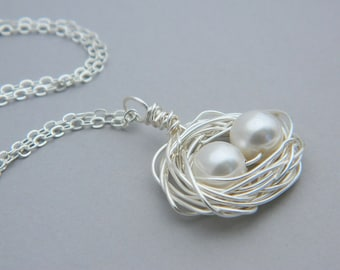 Mother's Day - Two Child Bird's Nest Necklace -- Sterling, Pearls, Two kids, White, Beige, Ivory, OOAK, Mother's Day, Baby Shower, Mom