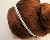 Rhinestone Pearl Beaded  Bridal Wedding Headband Thin Headpiece Head Piece Crystal Pearl Headbands Beach Weddings Bridal Tiara
