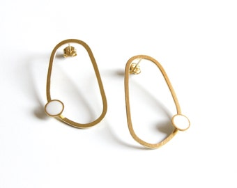 Gold Summer Hoops, 24K Gold Plated Sterling Silver Abstract Hoops, Organic shaped hoop earrings, Black and White Dot