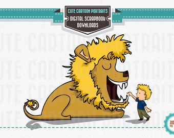 Instant Download - Lion and Boy - Clip Art Collage Sheet