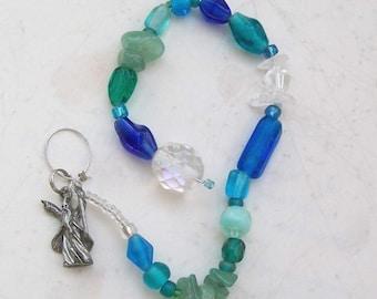 Wizard Suncatcher Meditation Beads - Aventurine, Quartz - Handmade OOAK, Free US Shipping, Boy, Girl, Magic, Window Decor, Metaphysical