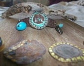 Ondine...patina metal leather turquoise and feather bracelet by simplyworn