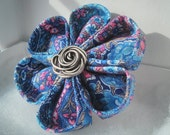 Blue Paisley Tsumami Kanzashi Fabric Flower Hair Clip ( with Hair Pin and Brooch options)