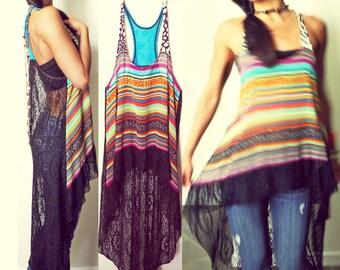 Dream Catcher Crochet Net Boho Hi-Low Racer Tunic Dress
