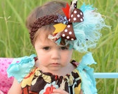 Aqua, Brown, Red, and Yellow Over The Top Boutique Hair Bow on matching Headband Free Shipping On All Addional Items
