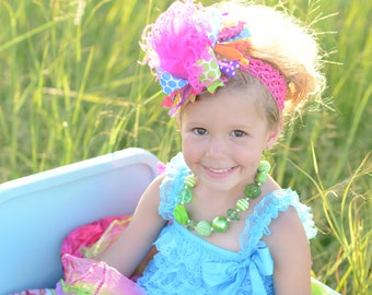 Summer Bright Over The Top Funky Boutique Hair Bow on matching Headband Free Shipping On All Addional Items