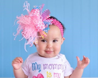 Chevron Purple, Turquoise, Yellow, and Bright Pink Over The Top Bow With Matching Headband My Mommy is My BFF Petti Skirt