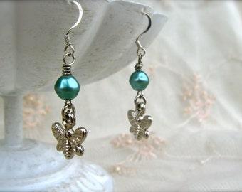Earrings. Teal Butterfly Earrings. Aqua Blue Pearl Earrings. Pearl Dangle Earrings. Silver Earrings. Dragonfly Earrings. Turquoise Pearl.