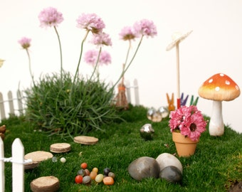 Fairy Garden Kit - Fairy Garden Accessories - Fairy Garden Supply - Fairy Garden Decor - DIY Fairy House - moss, tree, furniture, items