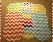 Chevron Burp Cloths Contoured Set of 6 Flannel and Terry Cloth - Riley Blake Rainbow Bright